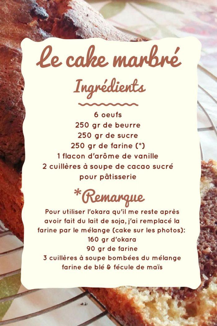 Les ingrédients pour le cake marbré